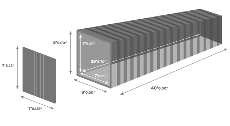 40 Foot Shipping Container size Diagram